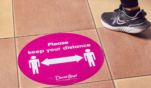 Image of social distancing marker at David Lloyd